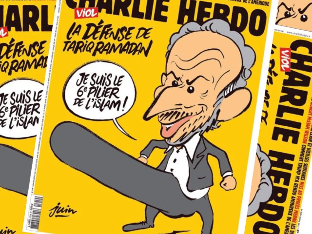 The full sized cartoon caricature is provocative in the way Charlie Hebdo's addresses any Islamic issue