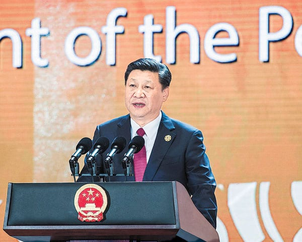 President Xi Jinping speaks during the APEC CEO Summit on Friday ahead of the APEC Economic Leaders' Meeting in Da Nang, Vietnam