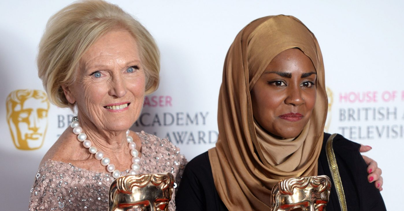 Mary Berry (left) and Nadiya Hussain at the House of Fraser BAFTA TV Awards 2016