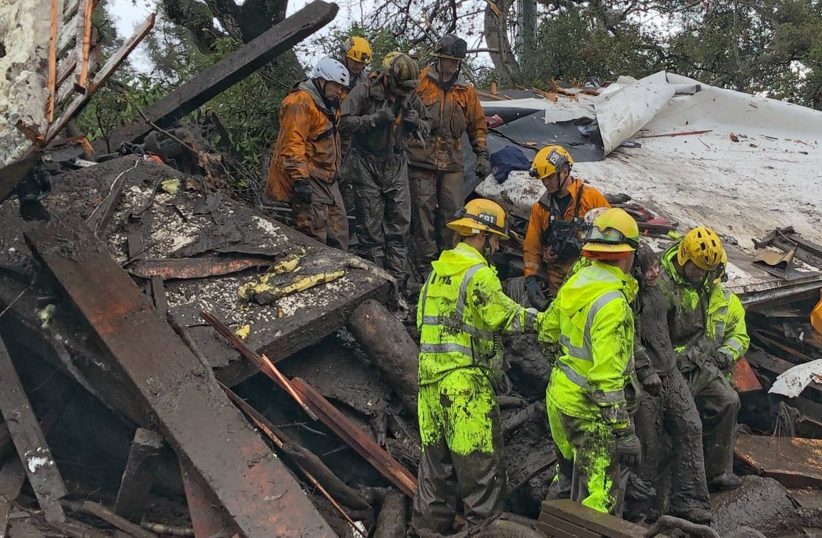 Firefighters successfully rescued a 14 yr old girl (right) after she was trapped for hours inside a destroyed home in Montecito. #CAstorm