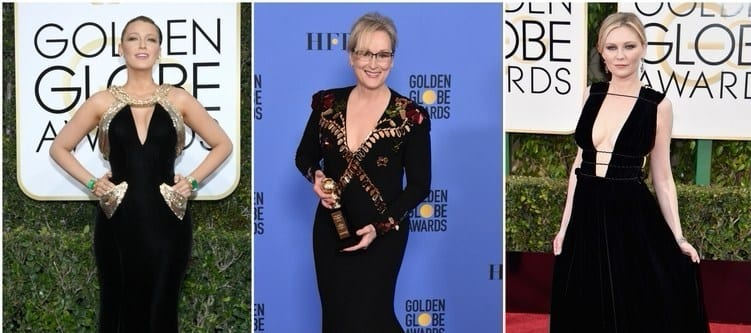 Golden globes awards 2018 - stars will wear black and wear 'Times Up' pins.
