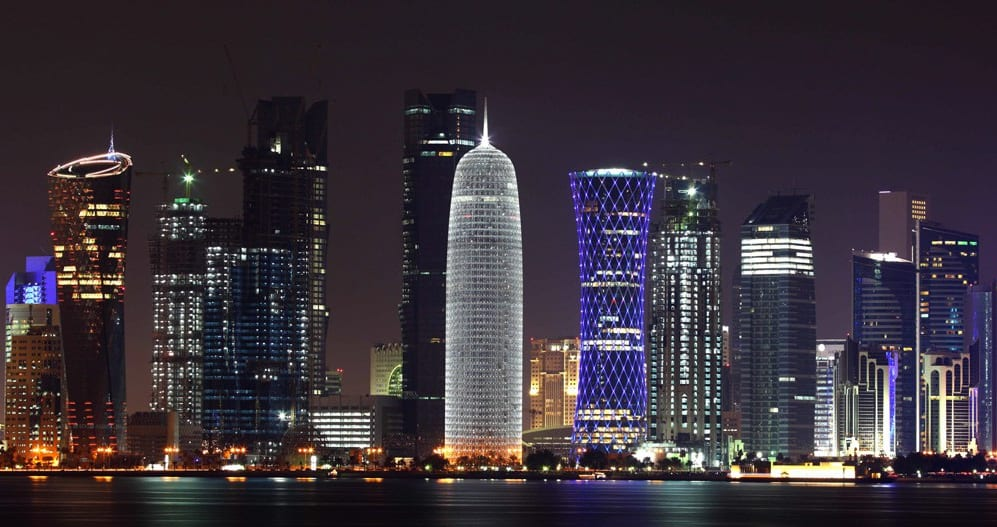 Qatar - Doha at night - stunning landscape of the tiny gulf state