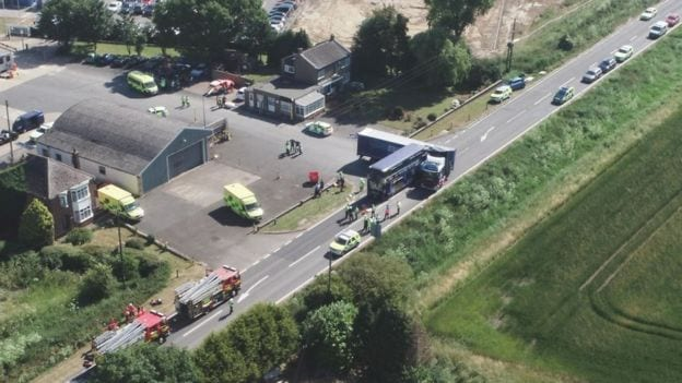 "Cambridgeshire Police has said ""a total of 20 people who were travelling in the bus, were injured - nine are seriously injured and 11 have minor injuries""."