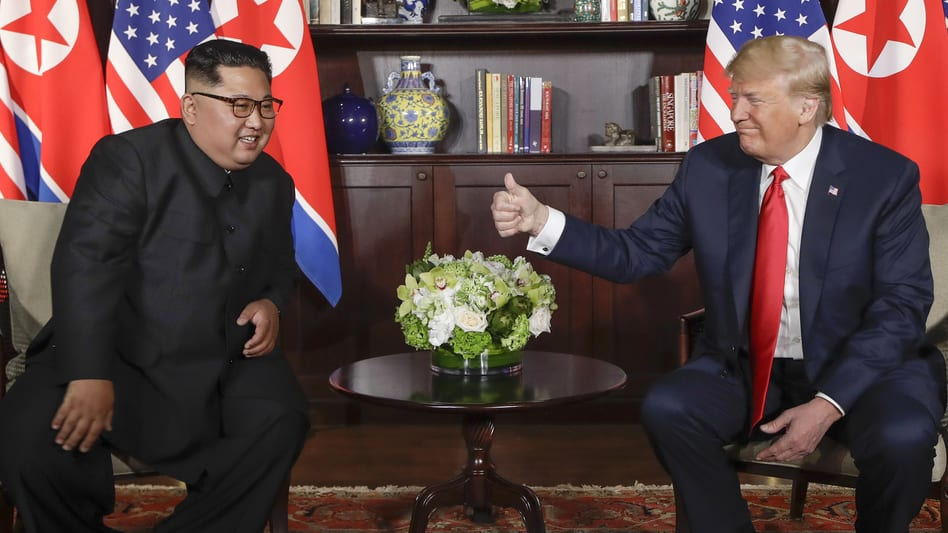 president Trump and Kim Jong Un meeting at the Capella resort on Sentosa Island in Singapore on Tuesday