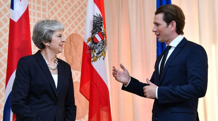 heresa May visit Austria welcomed by Austrian Leader Sebastian Kurz