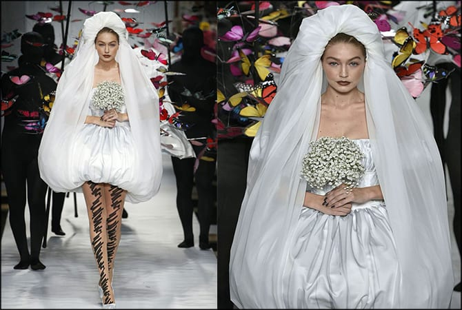 Milan Fashion Week Gigi Hadid in Jeremy Scott's Wedding dress.