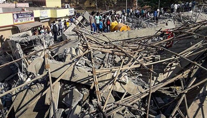 Building collapse kills 2 after an under-construction multistory building collapsed in Dharwad, Karnataka, India