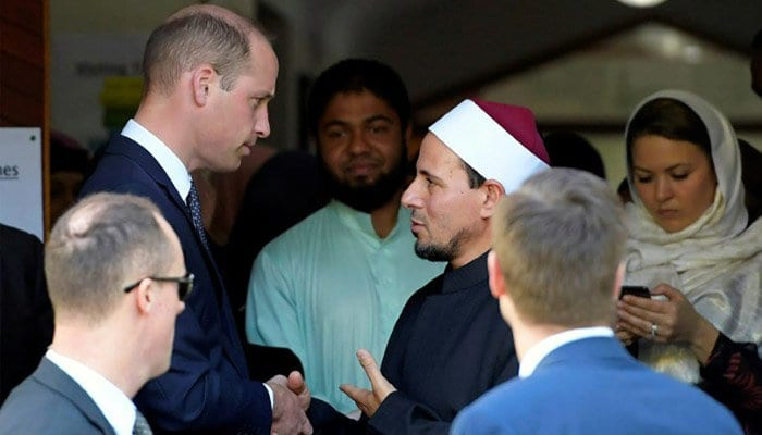 Prince William was welcomed to the mosque by the Imam Gamel Fouda, Prime Minister Jacinda Ardern and attack survivor Farid Ahmed whose wife was killed