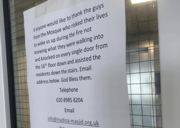 A thank you letter from the residents who escaped without injury because of the local Muslims