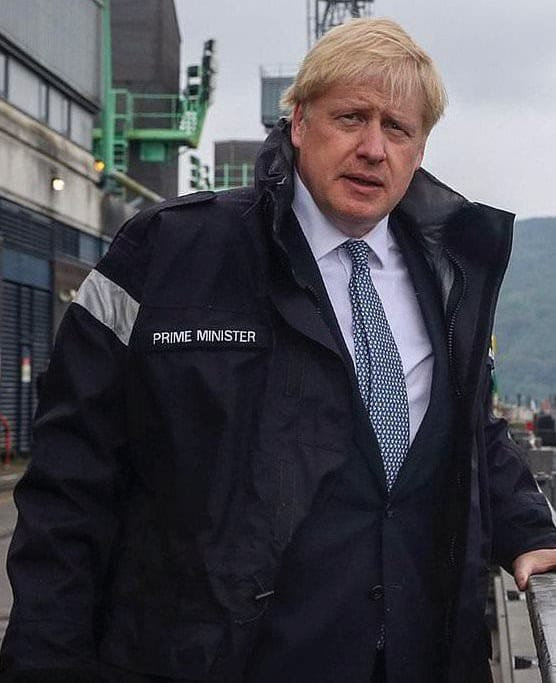 Londoners Eye - Percy Blackney takes aim at Boris Johnson wearing his Prime Minister Jacket