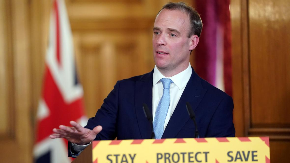 Dominic Raab giving today's briefing extending the UK Lockdown by 3 weeks