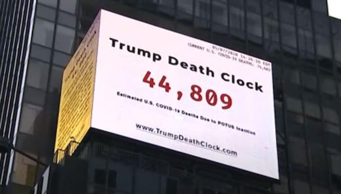 Trump Death Clock: Times Square billboard counts preventable US coronavirus deaths
