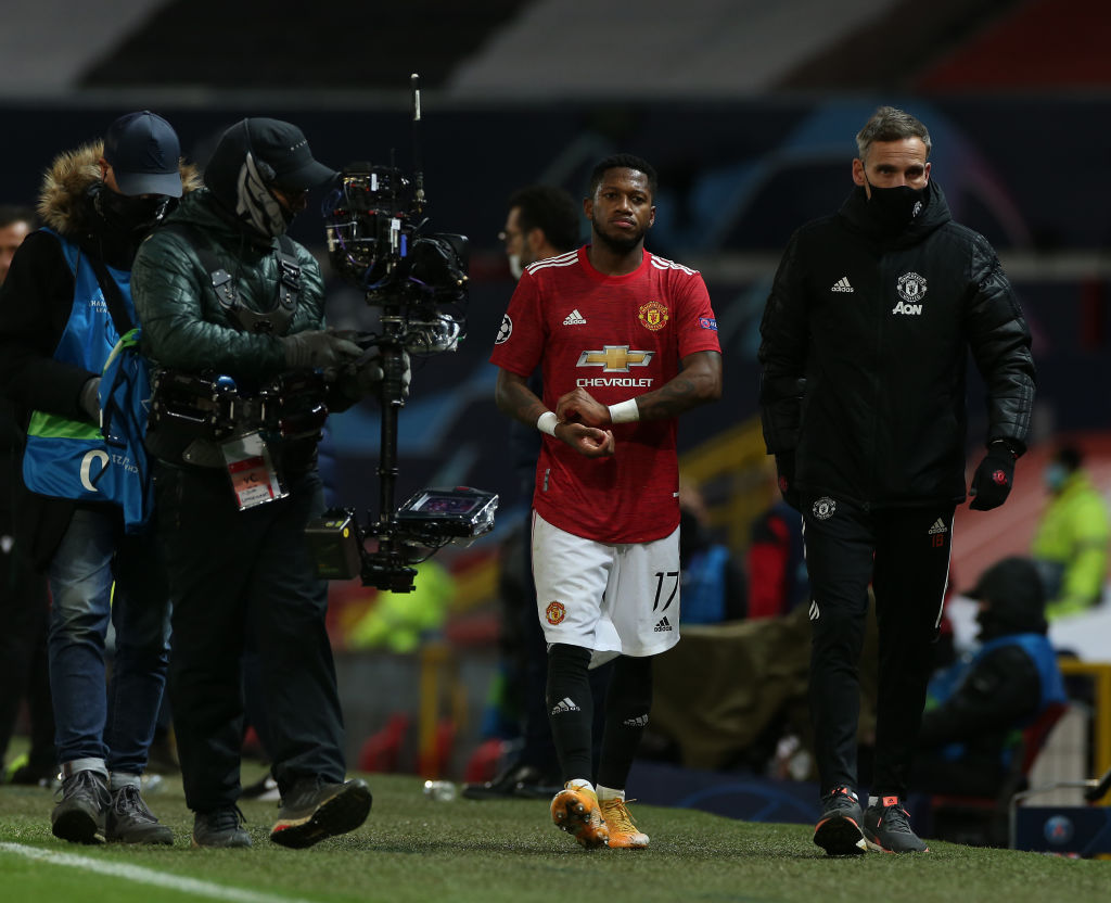 Fred is sent off for United against PSG at Old Trafford