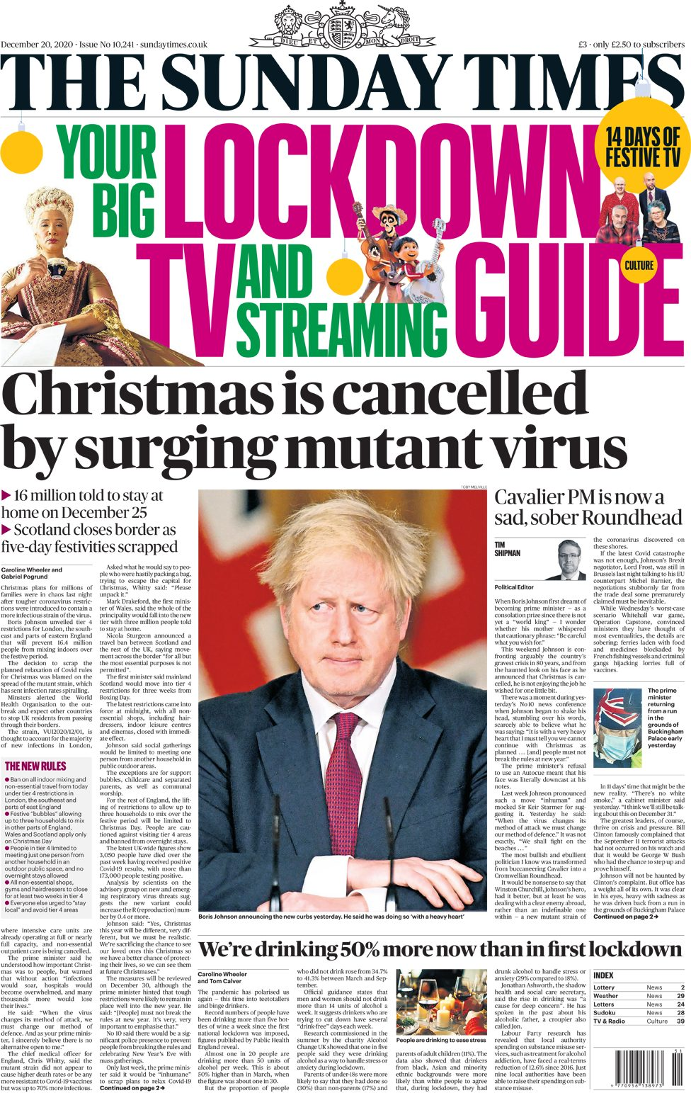 The Sunday Times leads with 'Christmas is cancelled by surging mutating virus'