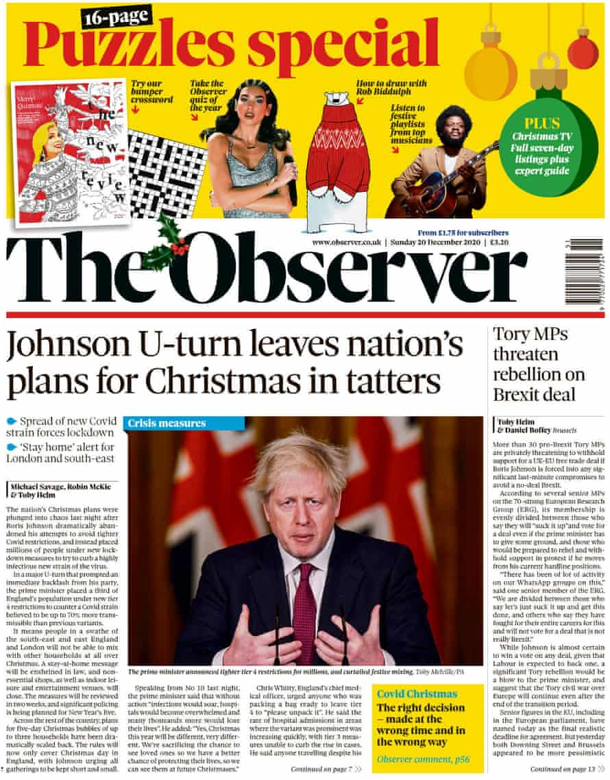 The Sunday Papers - The Observer leads with 'Johnsons U turn leaves nations plans for Christmas in tatters'