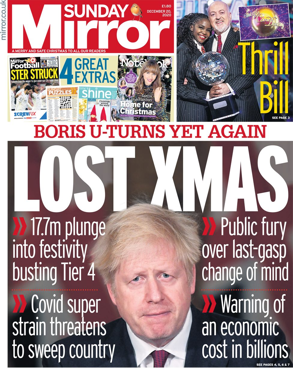 The Mirror leads with 'Lost Xmas' -