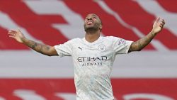 Raheem Sterling celebrating his early opener against Arsenal during Sunday's Premier League results