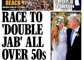 The Daily Express - 'double jab' race to June 21 freedom
