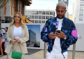 Taylor Ward, 23, flashes her sparkling engagement ring as she steps out with fiancé Riyad Mahrez, 30, for dinner date in Manchester