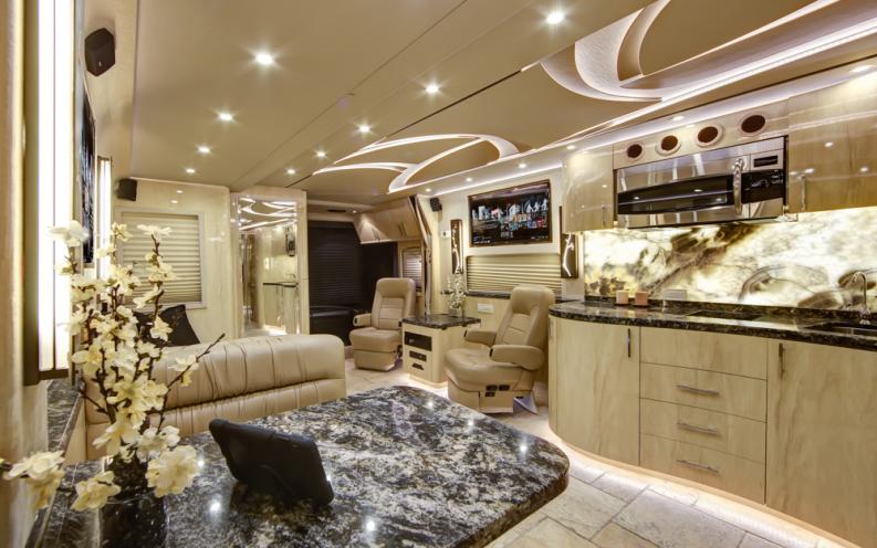 Inside a luxury celebrity tour bus - A penthouse on wheels