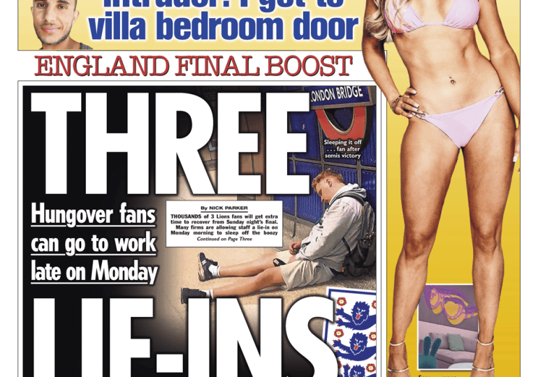 The Sun - 'Extra time to recover' after Sunday's final