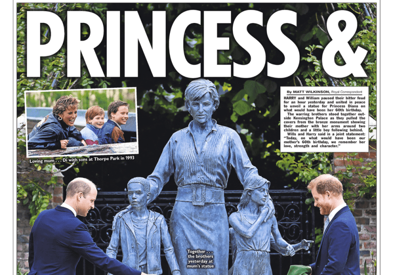 The Sun - Wills, Harry - Princess Diana and the peace