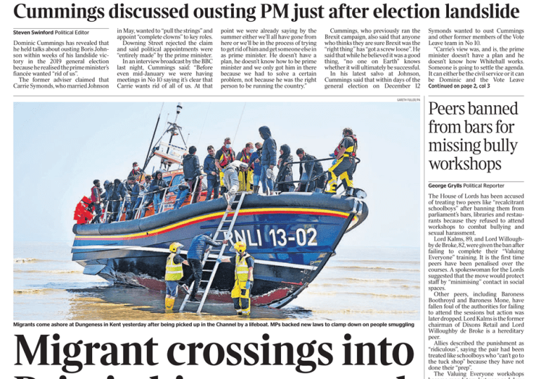 The Times - Migrant crossings hit new record