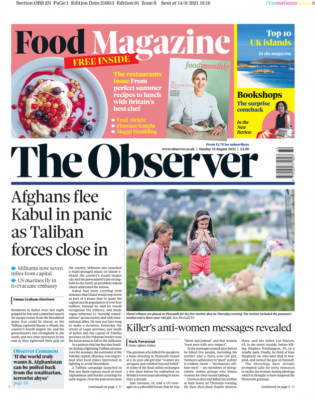 The Observer - 'Afghans flee Kabul in panic as Taliban forces close in'