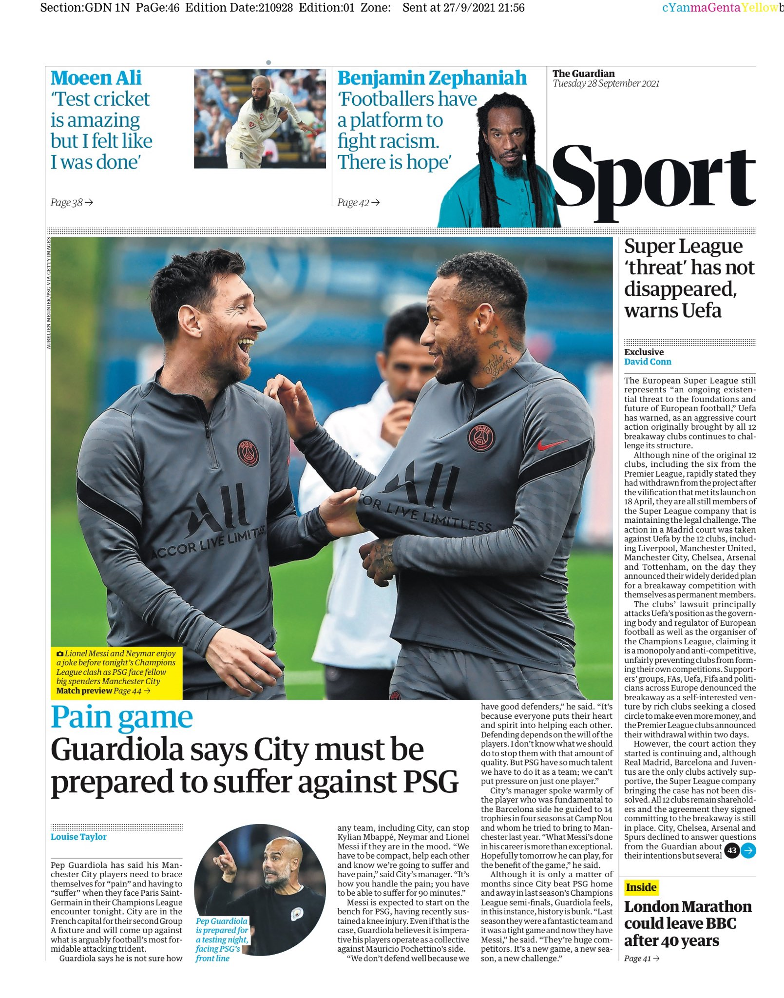 GUARDIAN SPORT: Pain game as City take on PSG