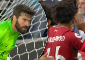 Alisson alarmed with Leeds trick as Trent Alexander-Arnold responds to Kyle Walker chant in Liverpool win