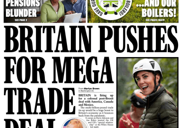 Daily Express - 'Britain pushes for mega US trade deal'
