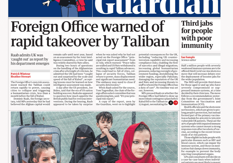 The Guardian - 'FO warned of rapid Taliban takeover'