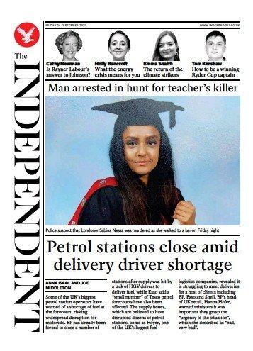 The Independent - 'Man arrested in hunt for teacher's killer'