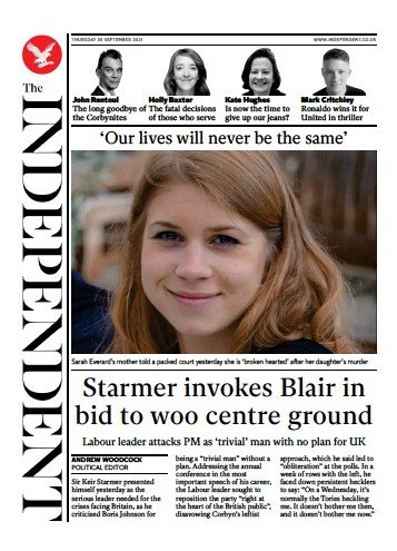 The Independent - 'Starmer envokes Blair'