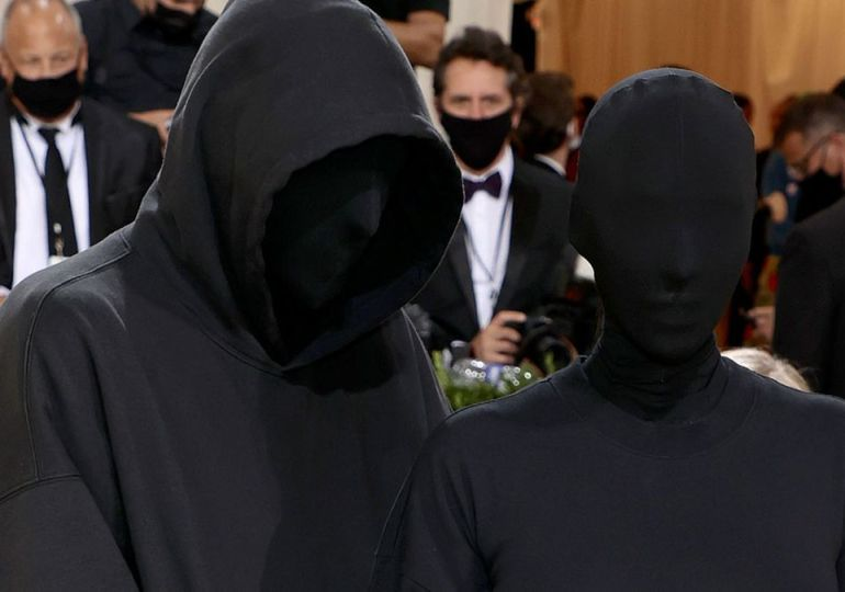 Kim Kardashian poses with 'fake Kanye West' in Met Gala outfits that cover faces