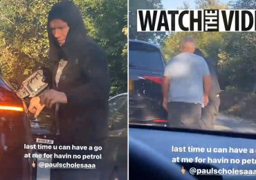Man Utd legend Paul Scholes tops up petrol by roadside with jerry can as UK gripped by fuel crisis