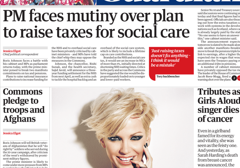 The Guardian - 'PM faces mutiny over plan to raise tax'