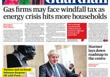The Guardian - 'Gas firms may face windfall tax'