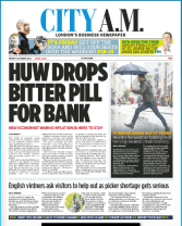 City Am front page 8th October 2021 leads with inflation fears and the fact that the square mile will not remove slave owners statues