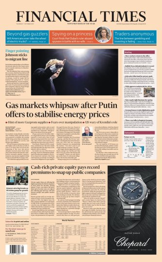 Financial Times Today - Johnson admits it will 'take time' to restructure UK economy