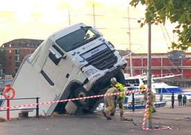 Lorry falls into water at Bristol harbour