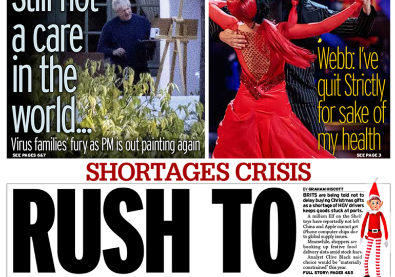 Daily Mirror - 'Shortages crisis: Rush to save Christmas'