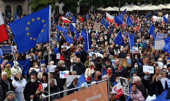 EU exit fears spark mass protests in Poland as PM pushes for independence from bloc