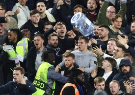Violence erupts at West Ham as Rapid Vienna fans storm home end after Declan Rice opener and one throws a water cooler