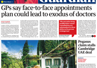 The Guardian - 'GPs says face-to-face app could see doctor exodus'