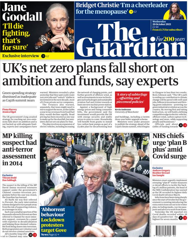 The Guardian - 'UK net zero plans fall short'
