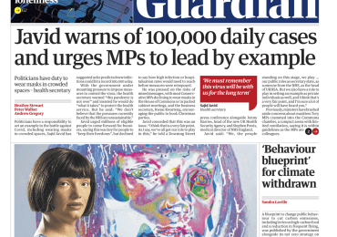 The Guardian - 'Javid warns of 100K cases per day'