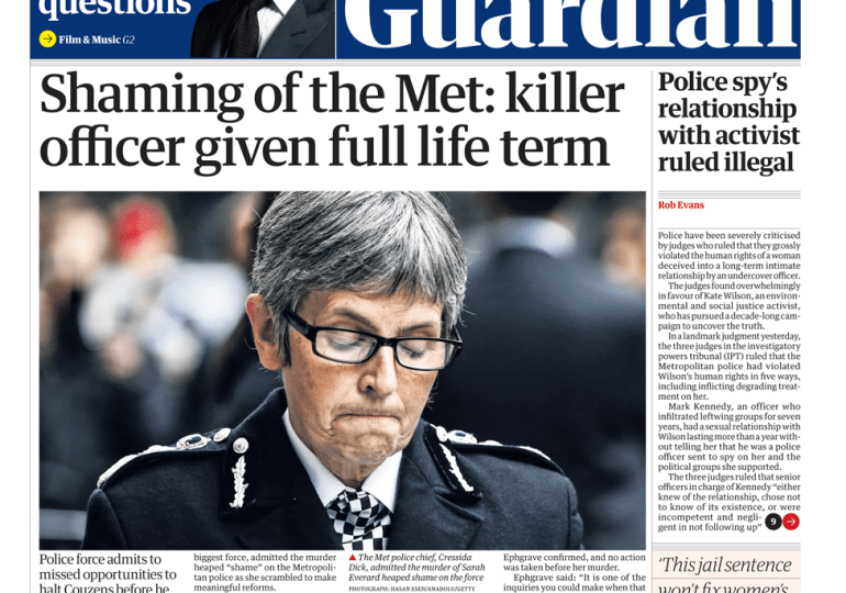 The Guardian - 'Shaming of the Met, killer gets life'