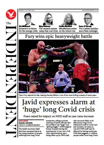 The Independent - 'Javid concern at long Covid'