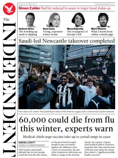 The Independent - '60K could die from flu this winter'